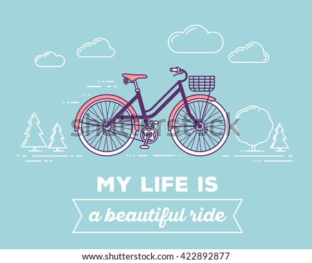 Vector illustration of retro pastel color bicycle with basket, text my life is beautiful ride on blue background. Bike adventure concept. Thin line art flat design of vintage bicycle, riding, cycling