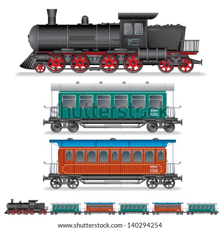 Vector illustration of Retro Steam Train with Coach Waggons.