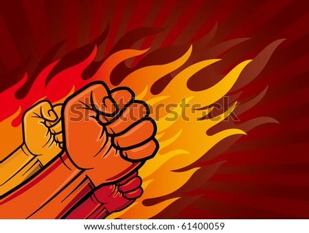 vector illustration of revolution fist - stock vector