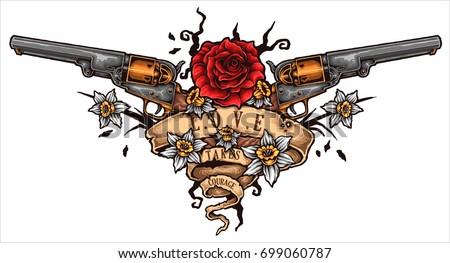 vector illustration of revolver