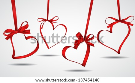 Vector illustration of ribbon red hearts - stock vector