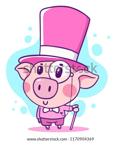 Vector illustration of rich noble cartoon piggy in top hat with walking stick. Hand drawn line art style design of symbol of the new year 2019 for web, site, greeting card, sticker, t-shirt print