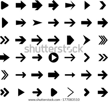 Vector illustration of right arrow icons.