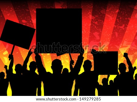 Vector Illustration of Riot People with Grunge Background