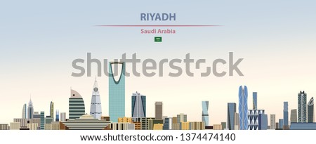 Vector illustration of Riyadh city skyline on colorful gradient beautiful day sky background