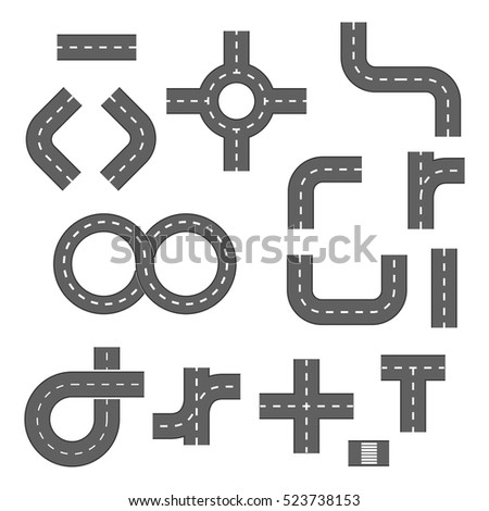 Vector illustration of road elements. Footpath, ring, infinity and turns