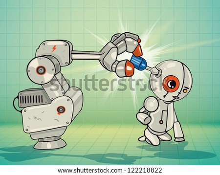 Vector Illustration of robot arm fixing the little robot with a screwdriver
