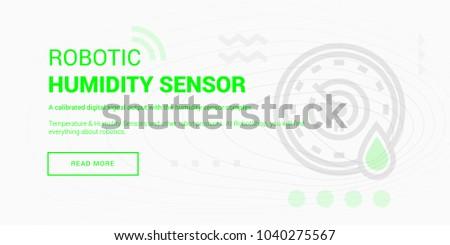 Vector illustration of robotic humidity sensor banner on white background.