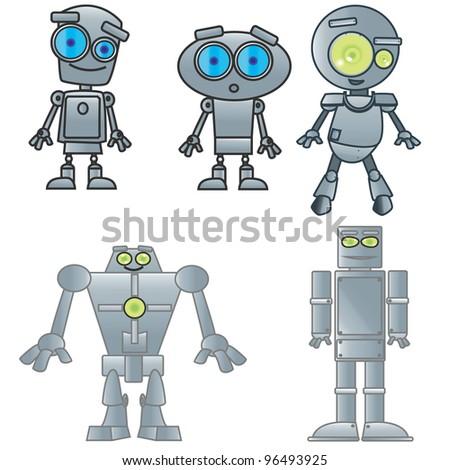 vector illustration of robots