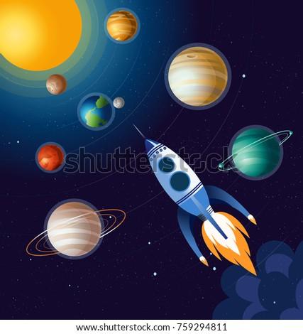vector illustration of rocket