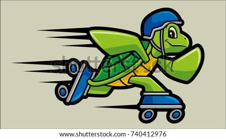 Vector Illustration Of Roller Skating Turtle Character Mascot.