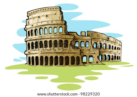 vector illustration of Roman Colosseum against abstract background