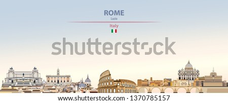 Vector illustration of Rome city skyline on colorful gradient beautiful day sky background with flag of Italy