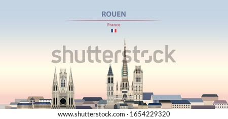 Vector illustration of Rouen city skyline on colorful gradient beautiful daytime background
