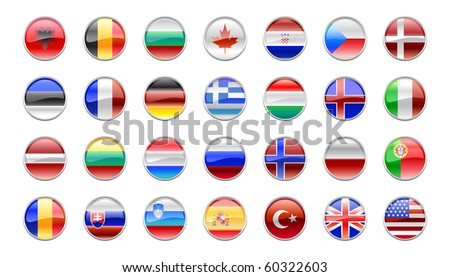Vector Illustration of round buttons set, decorated with the flags of the NATO countries.