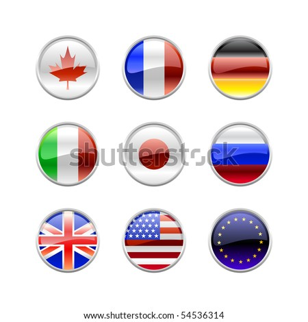 Vector Illustration of round buttons set, decorated with the flags of the world (G8).