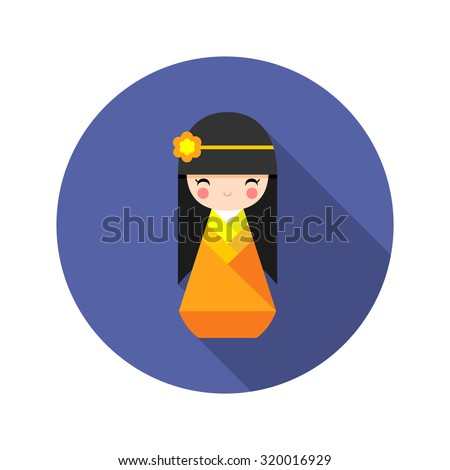 Vector illustration of  round Japanese Kokeshi Doll icon.