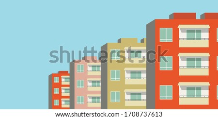 Vector illustration of row of modern multicolored multistory high-rise residential apartment building houses. Front view with windows balconies with roof on sunny day. Real estate rental concept