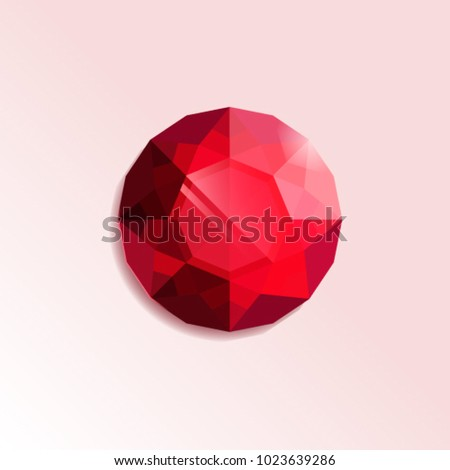 Vector illustration of ruby jewel on white background