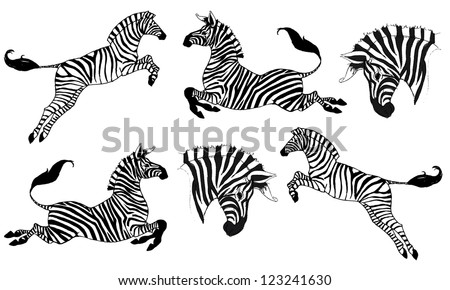 Zebra head download free vector art stock graphics images vector illustration of running and jumping zebras pronofoot35fo Gallery