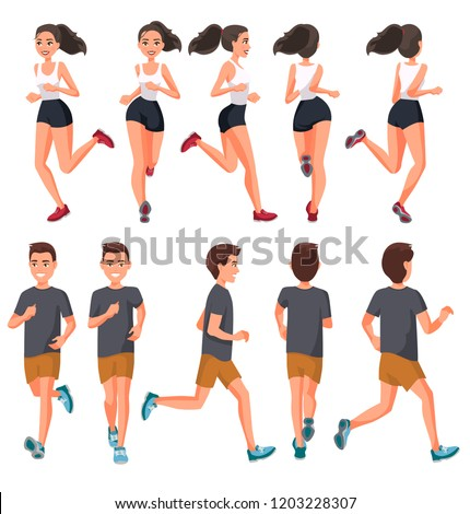 Vector illustration of running young man and woman in casual clothes .Cartoon realistic people illustration.Flat sportive people. Front, side and back views. Isometric views. Sport, training, run.
