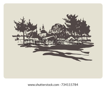 vector illustration of rural landscape