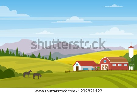 vector illustration of rural