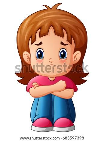 vector illustration of sad girl