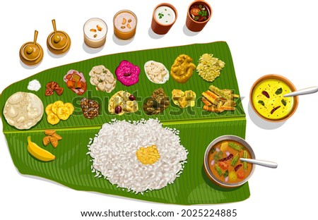 Vector illustration of  Sadhya, south indian vegeterian meal arranged in traditional way. Zdjęcia stock ©