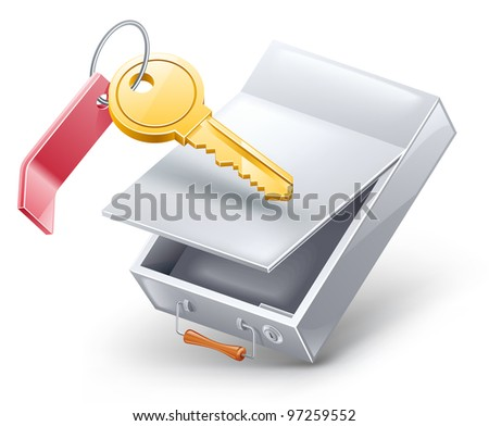 Vector illustration of safety deposit box with key on white background.
