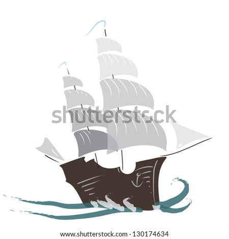 vector illustration of sailboat