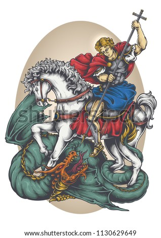 Vector illustration of saint george riding white horse fighting dragon
