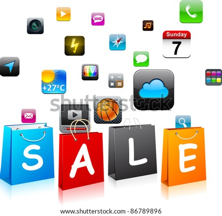 "Vector illustration of ""Sale"" app icons shopping bags."