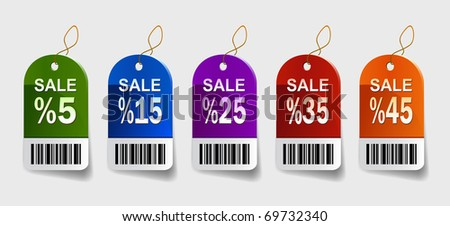 Vector illustration of sale labels - stock vector