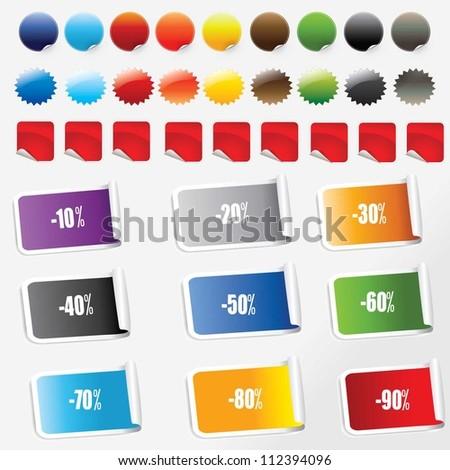vector illustration of   sale stickers set.