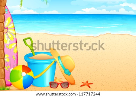 vector illustration of sandpit kit and hat on sea beach