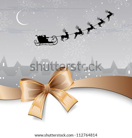 Vector Illustration of Santa Claus coming to City