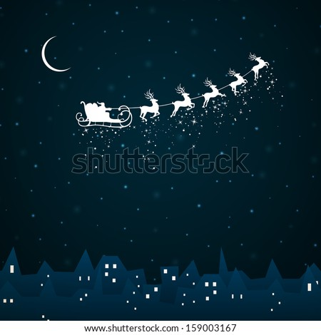 Stock Photo Vector Illustration of Santa Claus coming to City