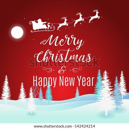 Vector Illustration of Santa Claus Driving in a Sleigh flying up the forest . Merry Christmas and Happy New Year lettering red traditional greeting background.