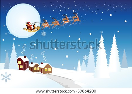 Vector illustration of Santa Claus riding the the sleigh pulled by reindeer in the middle of winter night