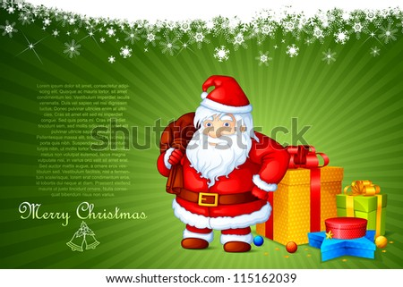 vector illustration of Santa Claus standing with Christmas gift