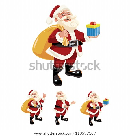 Vector illustration of Santa Claus. This is 9 pieces set (a body, 2 heads, a hat, 4 arms and a gift).