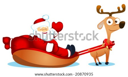 vector illustration of santa with deer