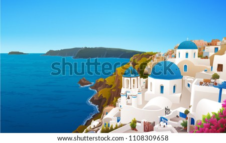 Vector illustration of Santorini island, Greece. Traditional houses and churches with blue domes. Blue sky and sea.