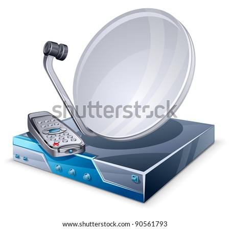 Vector illustration of satellite tuner on white background