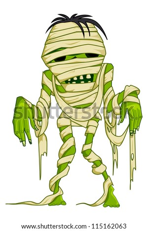 vector illustration of scary Halloween mummy with bandage