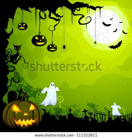 vector illustration of scary Halloween night