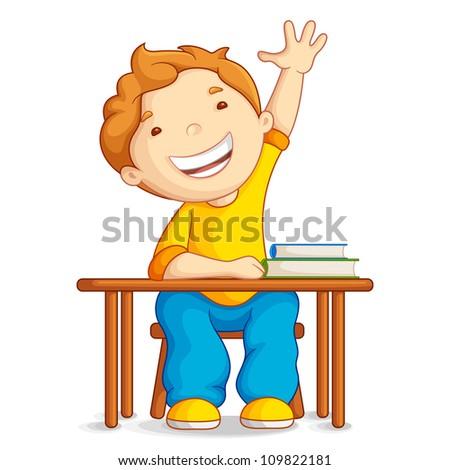vector illustration of school boy sitting on table