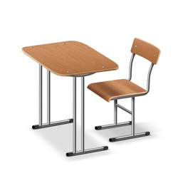 Vector illustration of school desk and chair, perspective side view. Isolated on white background