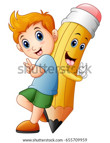 Vector illustration of Schoolboy with cartoon pencil character gesturing peace
